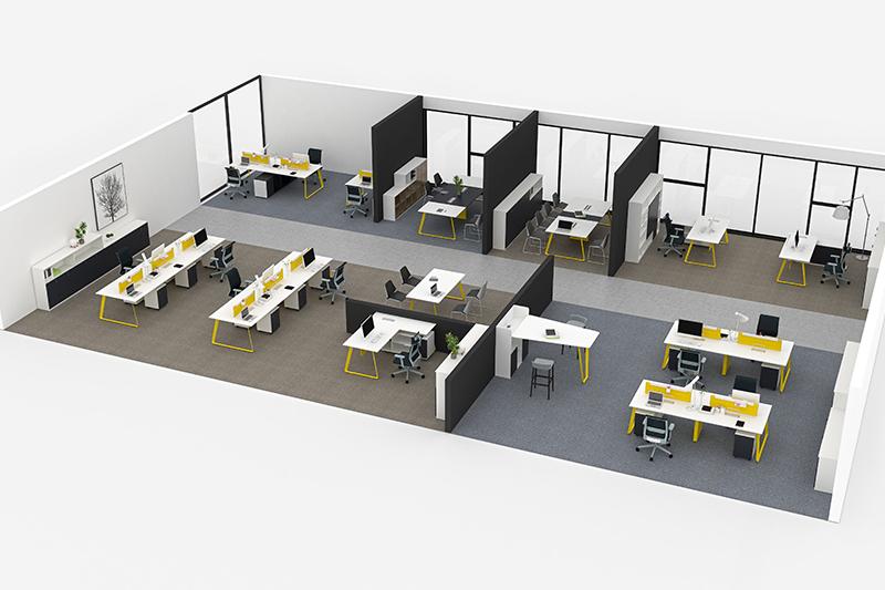 """""""一""""字型办公桌效果图-欧时家具"""
